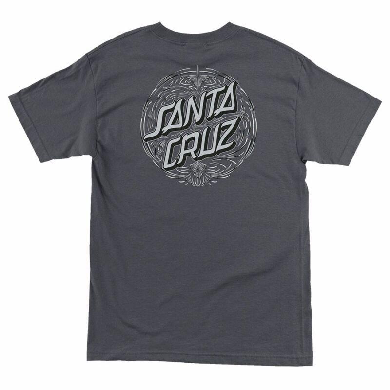 Santa Cruz PINSTRIPE DOT Skateboard T Shirt CHARCOAL MEDIUM
