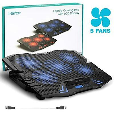 """i-Star USB Gaming Laptop Cooler Stand Up 15.6"""", 5 fan Cooling Pad w/ LCD - - 15.6 Blue Gaming Laptop"""