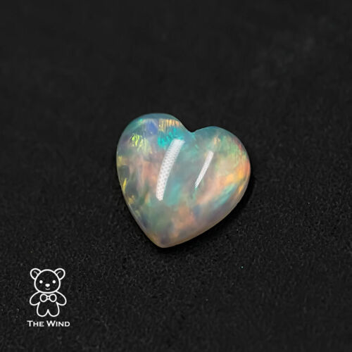 One Top Quality Heart Shaped Australian Solid Opal 5x5mm Loose Stone