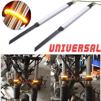 2Pcs Amber LED Universal Motorcycle Bike Fork Turn Signals Indicator Light Strip