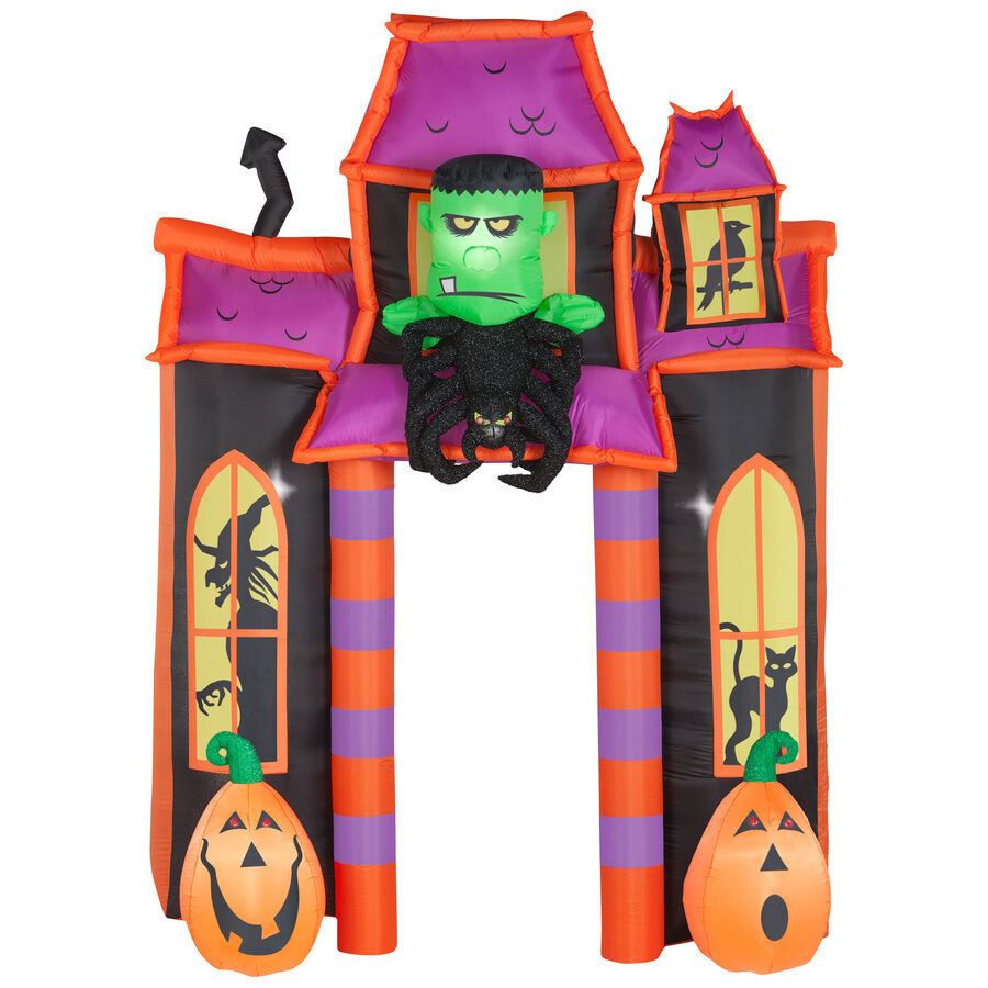 Halloween Airblown Inflatable Animated Led Lighted Haunted House Archway 8'x6'