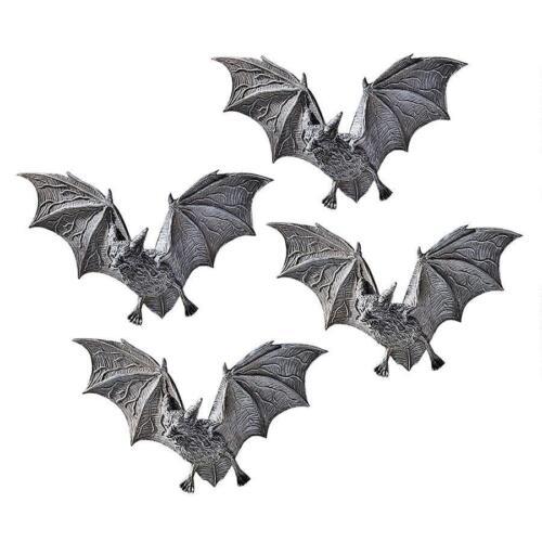 Set of 4: Vampire Bats Wall Plaque Sculpture Halloween Decor Scary Creatures
