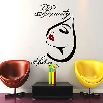 Hair Wall Decal Beauty Salon Stickers Decals Vinyl Hair Girl Woman Decor MN406 - Salon Decorations