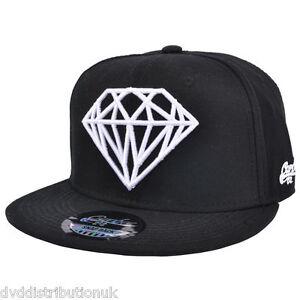 White Diamond Design Black Flat Peak Snapback Baseball Rapper Hip Hop Cap Unisex
