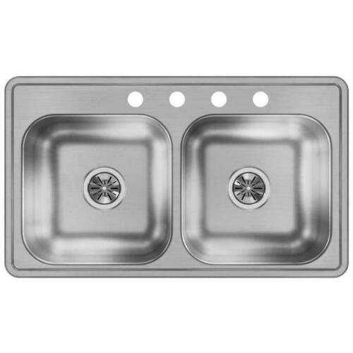 DAYTON Stainless Steel Double-Basin Sink Residential Kitchen 33 x 19 4-Hole