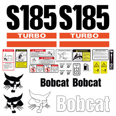 Bobcat S185 Turbo Skid Steer Set Vinyl Decal Sticker - 25 Pc - Free Shipping