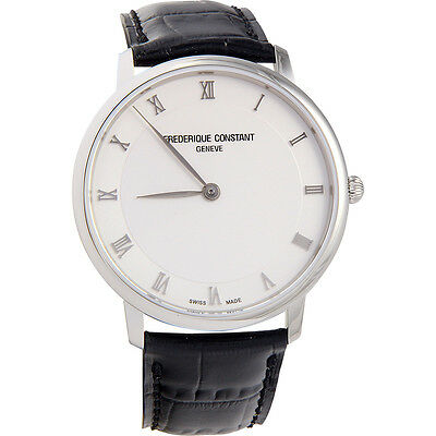 Frederique Constant Slimline White Dial Black Leather Men's Watch  FC-200RS5S36