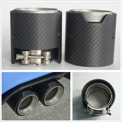 1 Pcs 66mm-In 93mm-Out Matte Black Real Carbon Fiber Car Modified Exhaust Pipe