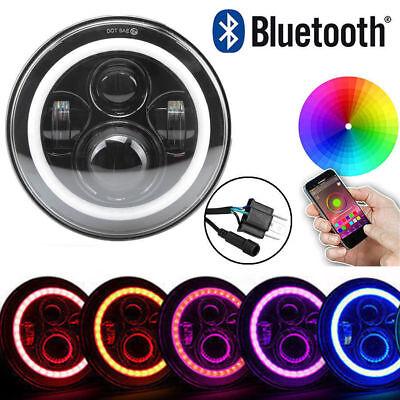 "LED 7"" Angle Ring Headlight Bluetooth RGB HALO Lights For Yamaha Motorcycle"