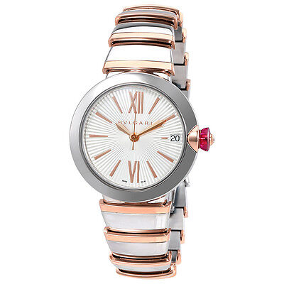 Bvlgari LVCEA  Automatic Silver Opaline Dial 18kt Pink Gold and Steel Ladies