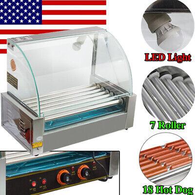 Commercialhousehold 18 Hot Dog 7 Roller Grill Cooker Machine W Led Light Usa