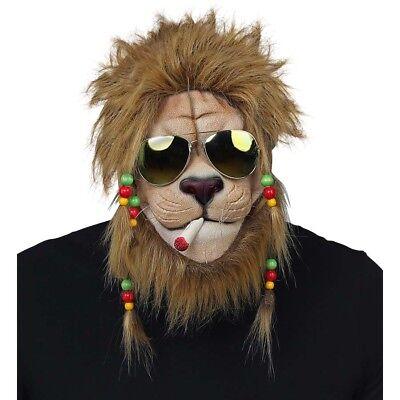RASTA LÖWEN MASKE & BRILLE Karneval Kostüm Tier Party Südsee Jamaika Deko - Tier Maske Kostüm