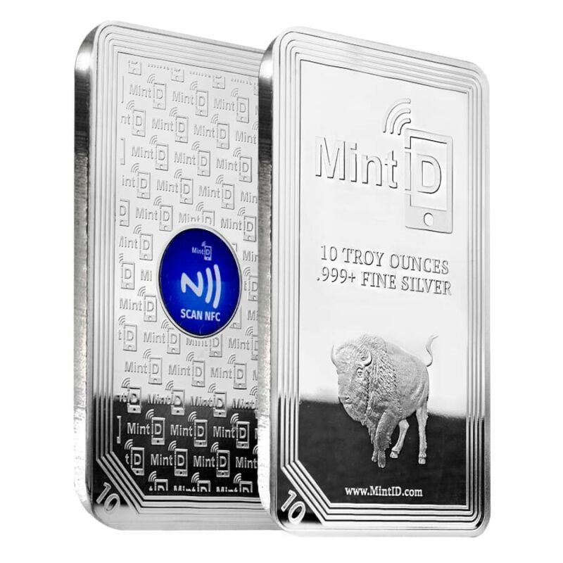 10 oz MintID Buffalo Silver Bar .999+ Fine (NFC Scan Authentication)