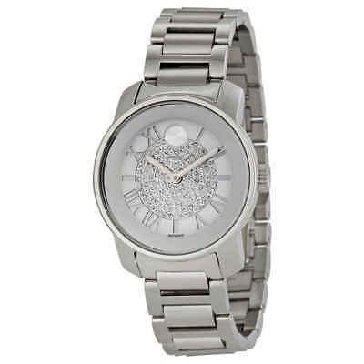 Movado Bold Silver Crystal Pave Dial Ladies Watch 3600254