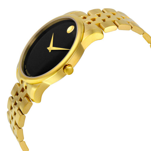 Movado Museum Classic Black Dial Stainless Steel Yellow PVD Mens Watch 0606997