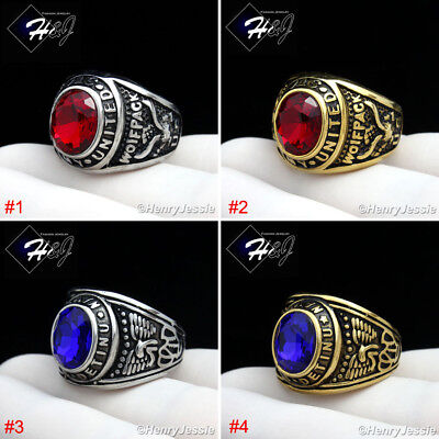 - MEN's Stainless Steel US Army/Navy Military Silver/Gold/Black Ruby/Sapphire Ring