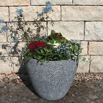 37 cm Kunststoff grau Blumentopf Pflanztöpfe groß rund außen (Kunststoff-töpfe)
