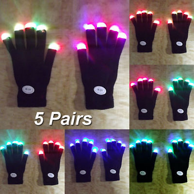 5 Pairs Flashing Finger Tip Light LED Gloves 7 Mode Mittens Costumes For Party](Costumes For Pairs)
