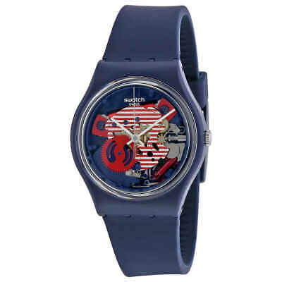 Swatch Porticciolo Red White Transparent Dial Blue Silicone Band Ladies Watch