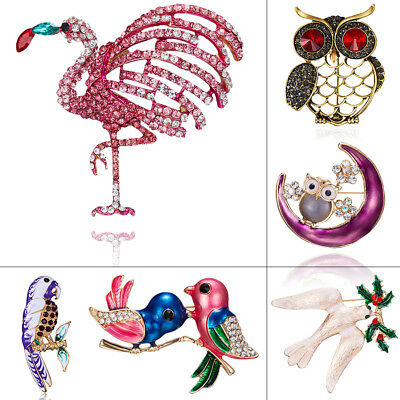 Vintage Women Flamingo Swallow Bird Owl Crystal Brooch Pin Lady Costume - Ladies Owl Costume