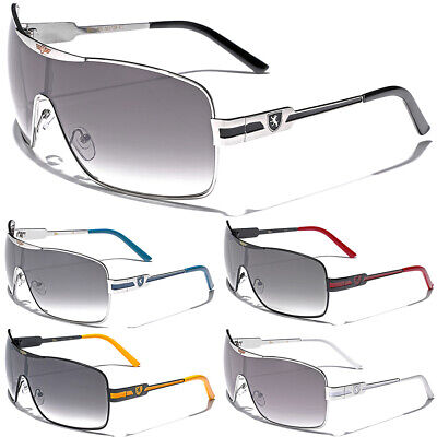 Khan Fashion Mens Square Aviator Style Sunglasses Silver Black Blue Sport (Mens Blue Aviator Sunglasses)