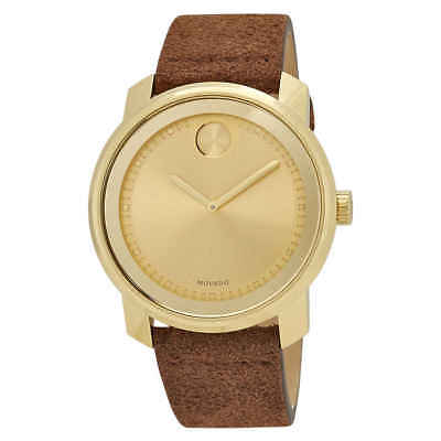 Movado Bold Gold Sunray Dial Cognac Suede Men's Watch 3600449