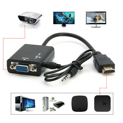 HDMI Male to VGA Female + 3.5 mm Audio AUX Cable Adapter Converter 1080P