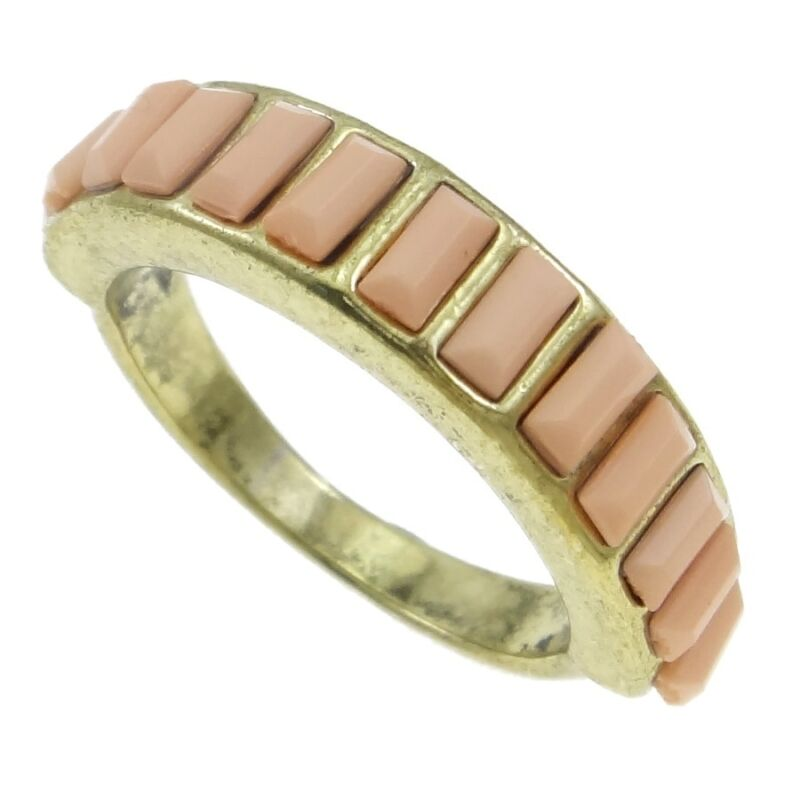 Wholesale Bulk Lot 10 Gold Tone Art Deco Style Pink Faceted Cab Rings Size 7