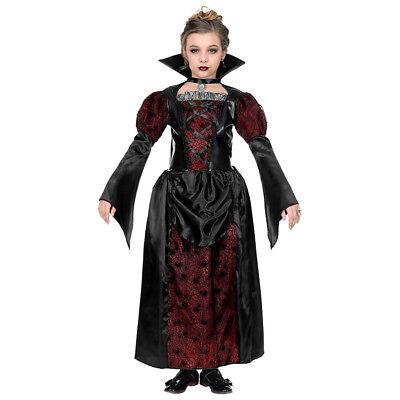 KINDER VAMPIRIN KOSTÜM Halloween Vampir Dracula Mädchen Kleid 128-140-158 7023 (Vampir Kostüm Mädchen)