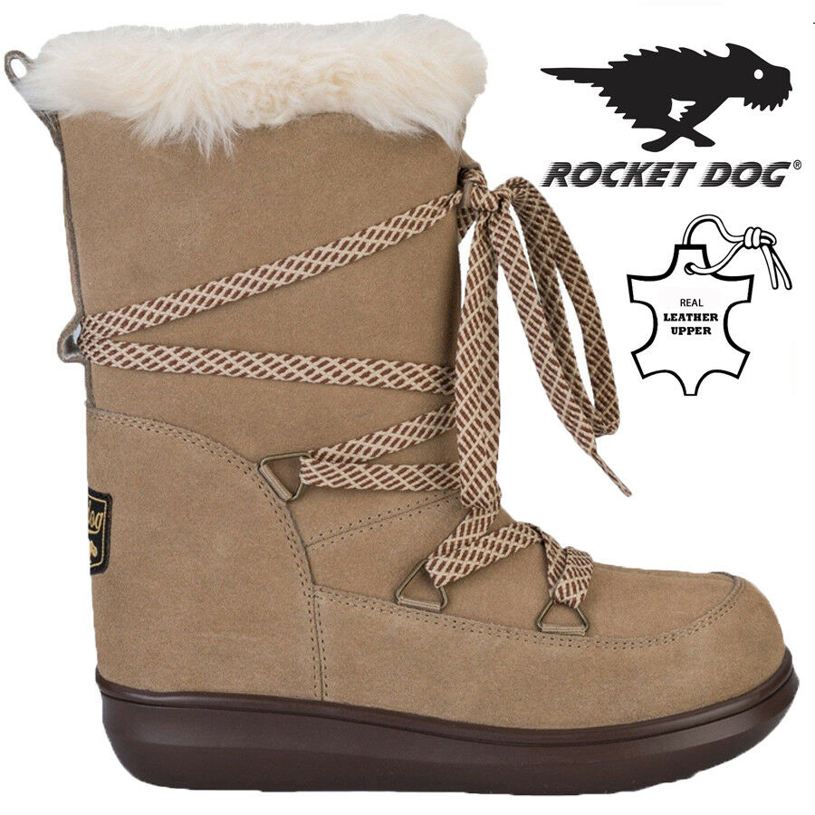 c9664e7209297 Boots Women's Shoes ROCKET DOG LADIES LEATHER FUR LINED WINTER SNOW WARM  WALKING HIKING BOOTS SIZE