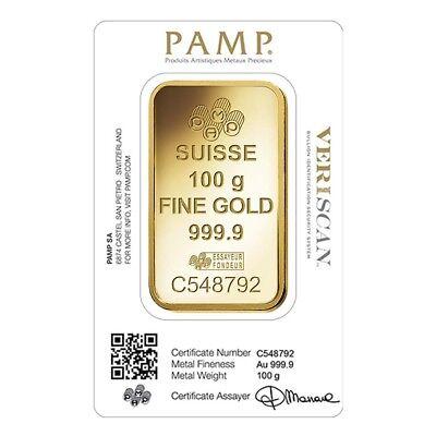100 gram Gold Bar PAMP Suisse Lady Fortuna Veriscan 9999 Fine In Assay
