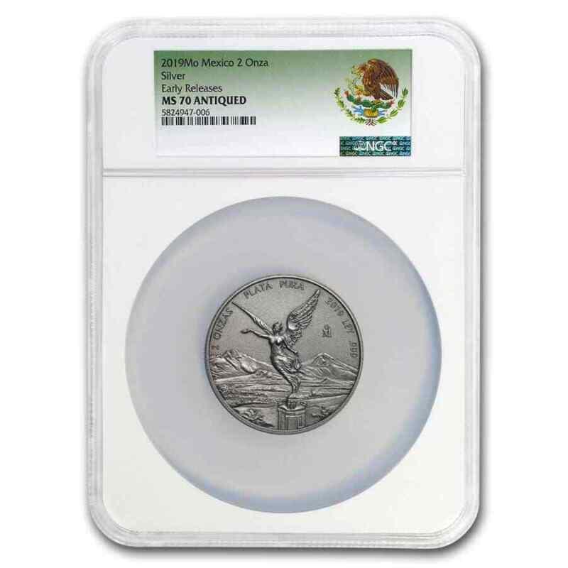 2019 Mexico 2 oz Silver Libertad Antiqued Finish MS-70 NGC (ER) - SKU#200302