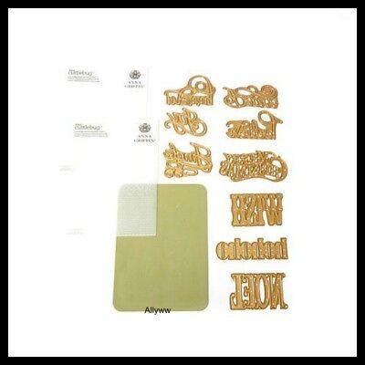 Cuttlebug Anna Griffin Christmas 9 piece Sentiment Die Set & 2 Folders  RARE ()