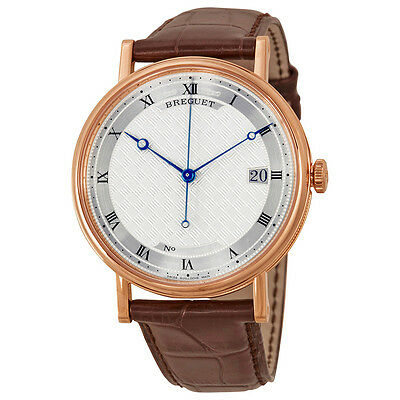 Breguet Classique Silver Dial 18kt Rose Gold Brown Leather Mens Watch