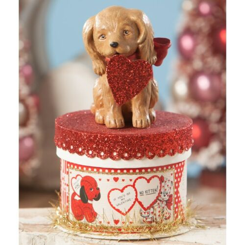 """Bethany Lowe Valentine """"Puppy Love"""" TL8692 Puppy on Gift Box, so cute NWT"""