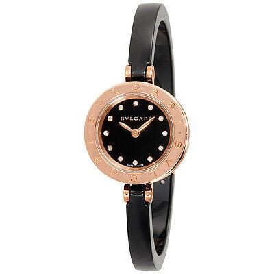 Bvlgari B.zero1 Black Lacquered Dial Black Ceramic Bangle Bracelet Ladies Watch