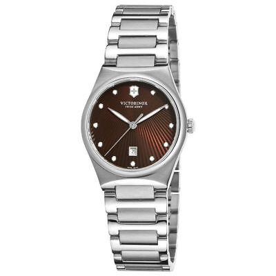 (Victorinox 241522 Swiss Army Classic Victoria Womens Dress Brown Dial Date Watch)