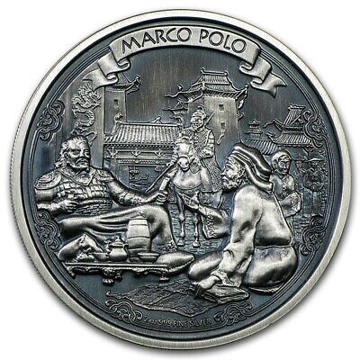 MARCO POLO JOURNEYS OF DISCOVERY ANTIQUE FINISH 2 OZ SILVER COIN NIUE 2015