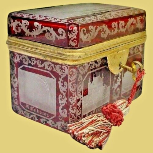19C Bohemian Cranberry Cut to Clear Spa Hinged Box