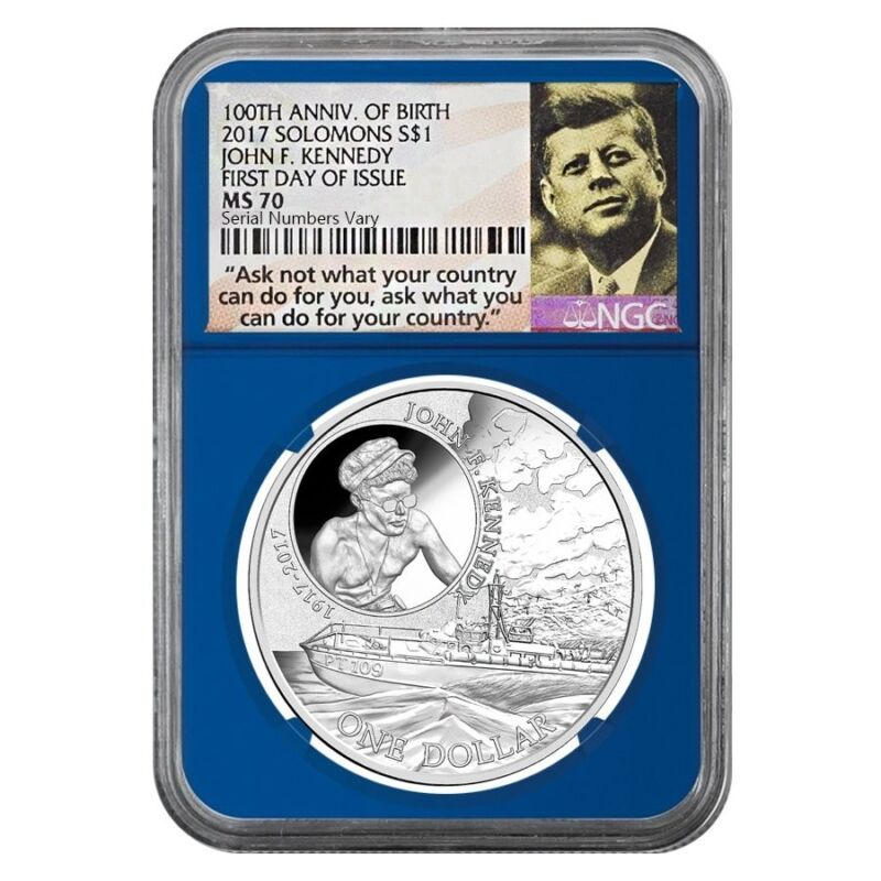 Sale Price - 2017 1 oz Silver JFK Solomon Islands NGC MS 70 FDOI Ask Not Blue