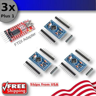 3pcs Plus Free Ft232 Adapter For Arduino Pro Mini Board Atmega328p 16mhz 5v