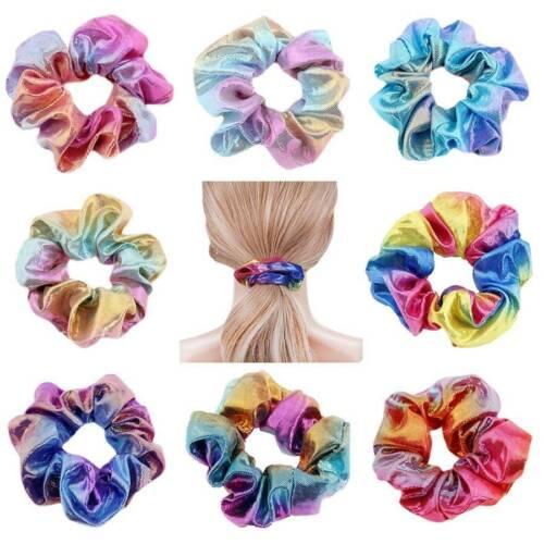2//4//8Pcs Shiny Metallic Hair Scrunchies Ponytail Holder Elastic Ties Bands Girl