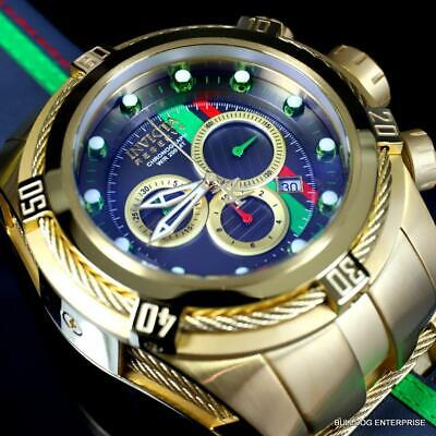 Invicta Reserve Bolt Zeus S1 Racer Gray Leather 52mm Swiss Gold Plated Watch New