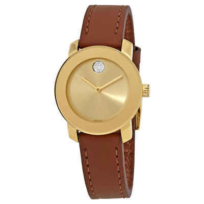 Movado Bold Gold Dial Brown Leather Ladies Watch 3600437