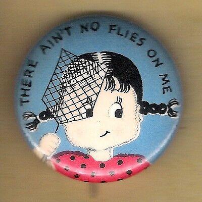 "Vintage Pinback Button Advertising Pin 1940's Norcross Greeting Cards ""No Flies"""