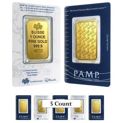 Lot of 5 - 1 oz Gold Bar - PAMP Suisse - New Design (In Assay)