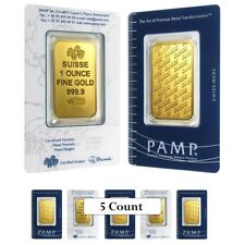 Sale Price - Lot of 5 - 1 oz Gold Bar - PAMP Suisse - New Design (In Assay)