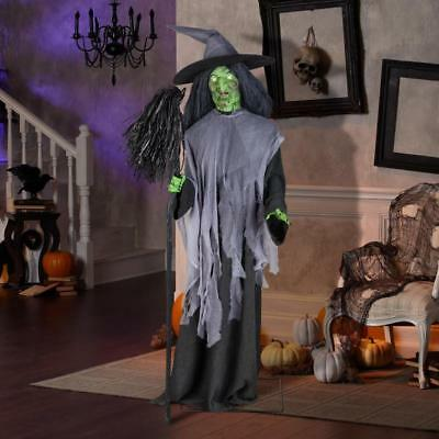 NEW! - Gemmy 6' Animatronic Motion Activated Speaking Evil Witch W/Broom & - Halloween Speaking Activities