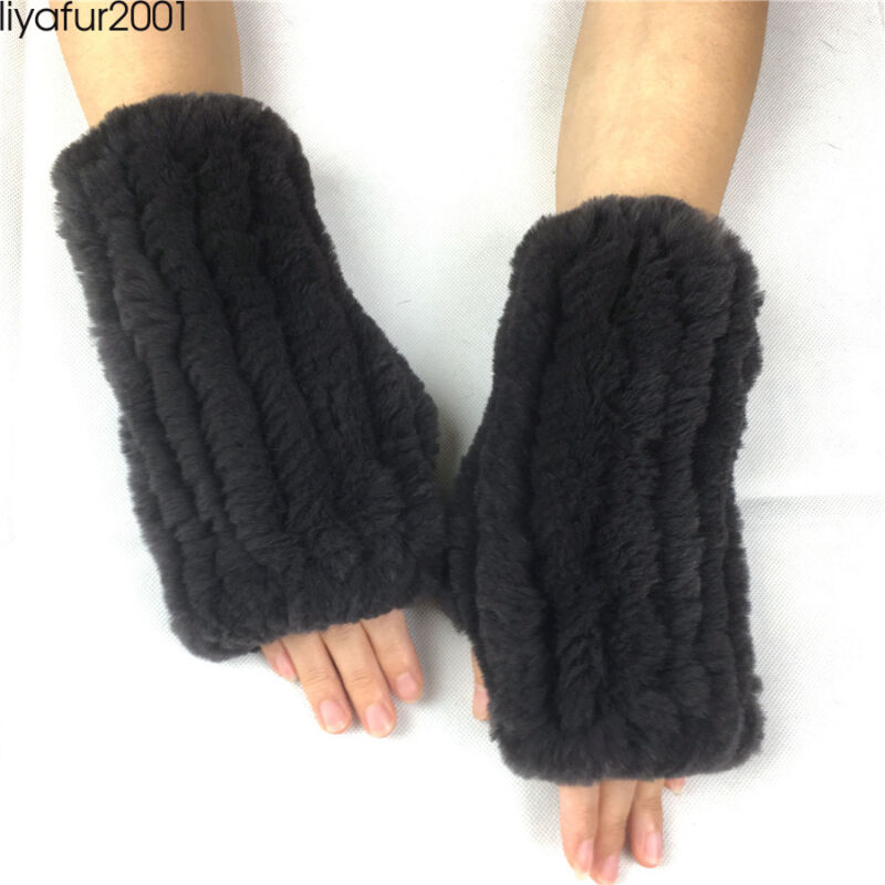 Liyafur 2019 New Real Rex Rabbit Mittens Women Fur Fingerless Winter Fur Gloves
