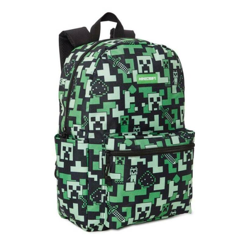 """NEW Minecraft Backpack 17"""" Creeper All Over Print Kid School Carry Bag Back Pack"""